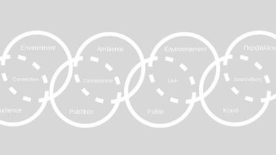 A white diagram on a grey background featuring intersecting circles overlaid with text